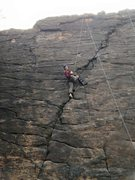 Rock Climbing Photo: First time back on the rock a few weeks after gett...