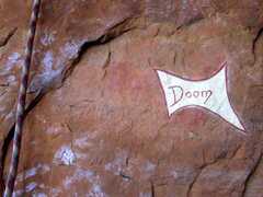 Rock Climbing Photo: Marking on rock at the beginning of Doom (2011)