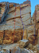 Rock Climbing Photo: Detail of the upper east face of Buena Vista.  No ...