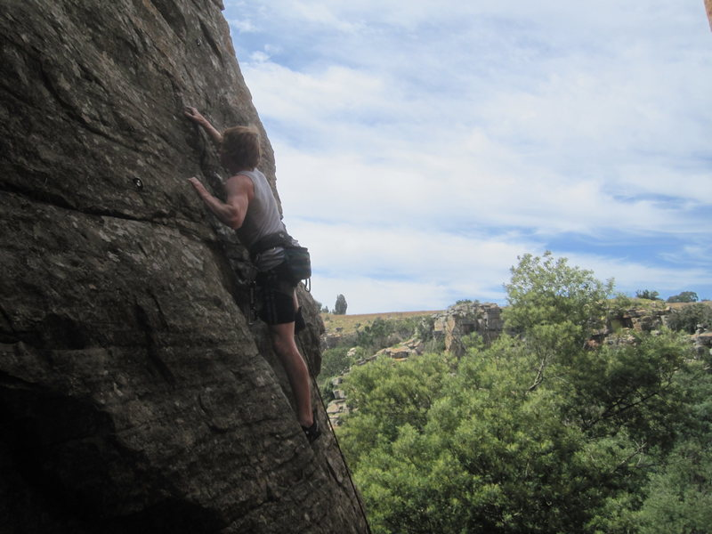 Rock Climbing Photo: Cool exposure on the upper portion of Jacky Chan.