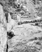 Rock Climbing Photo: 2 more moves to the summit.  I found this to be th...