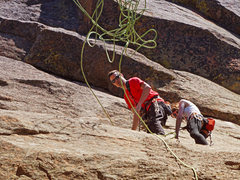 Rock Climbing Photo: Getting ready to rap off a route in DH.