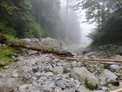 "Rock Climbing Photo: Heading down the washout of ""giant white boul..."