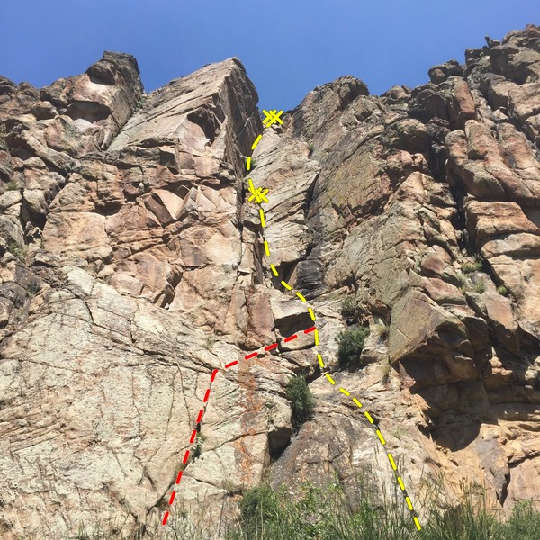 Upper wall. Seemed like Dunn&@POUND@39@SEMICOLON@s Dihedral is the yellow line. Both sets of anchors were in good shape as of today. We opted for the red line start, because we&@POUND@39@SEMICOLON@re fat and old and it looked easier :) Good stuff!