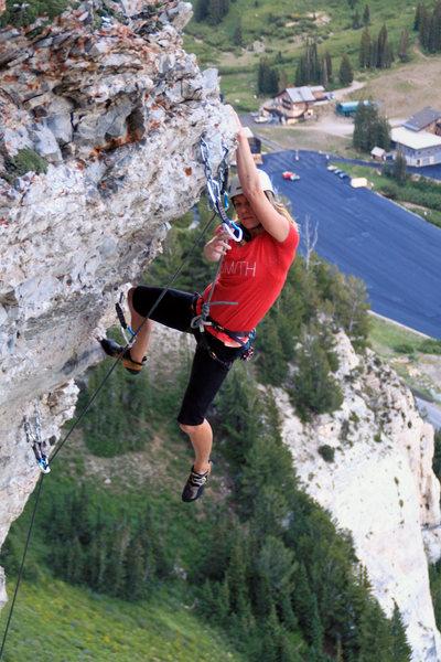 Rock Climbing Photo: Trish finishing the extension.  Garrett Bentley ph...