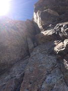 Rock Climbing Photo: The slot pitch.  Very large feature to keep in min...