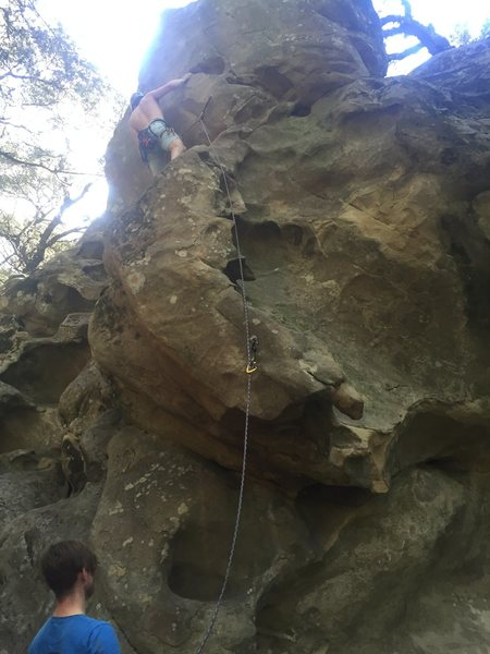 Prepping for the crux on Baby Fat. The ledge above the second clip is a great rest before pushing through to the top