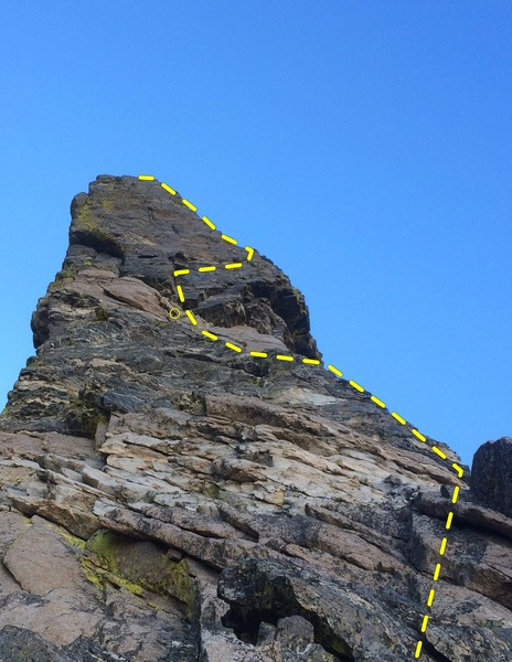 Rock Climbing Photo: Looking up at the steep false summit from the bott...