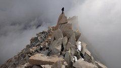 Rock Climbing Photo: on the fun summit block of Mt Brewer