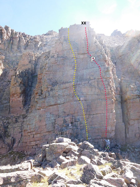 Pitch 3. Left (yellow) line is the variation. Right (red) line is the FA line. Fixed piton and anchors are marked.