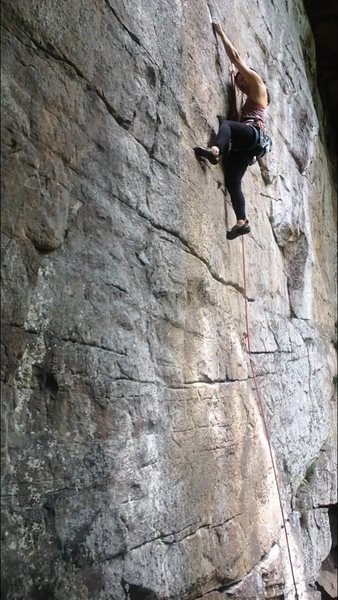 Rock Climbing Photo: easing into the first crux with the sidepull.