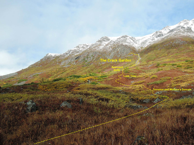 Rock Climbing Photo: Approach beta once off of the Reed Lakes trail.  R...