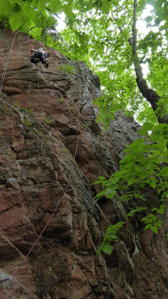 Rock Climbing Photo: Red radiolarian chert--Akaiwa Seigankyo, Hokkaido....