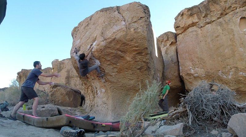 Rock Climbing Photo: Kris finds heel hooks to unweight hands wherever h...