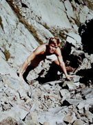 Rock Climbing Photo: The late Tom Rhimarki in Central Gully, Huntington...