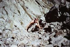 Rock Climbing Photo: The late Tom Rhimarki climbing in the upper portio...