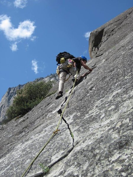 Rock Climbing Photo: Leading the last pitch