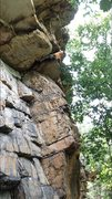 "Rock Climbing Photo: Pulling the roof on ""Old school"" located..."