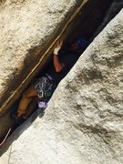 Rock Climbing Photo: Near the start.  Strange to climb laying on your b...