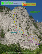 Rock Climbing Photo: Route Overlay for Dreamer (and Dreamer Direct and ...