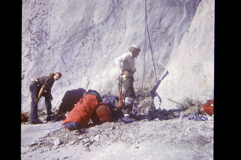 FA Mescalito 1973; Hugh & Charlie at the base