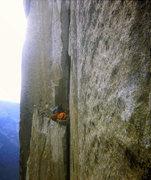 Rock Climbing Photo: FA Mescalito 1973; Steve Sutton back at the Bismar...