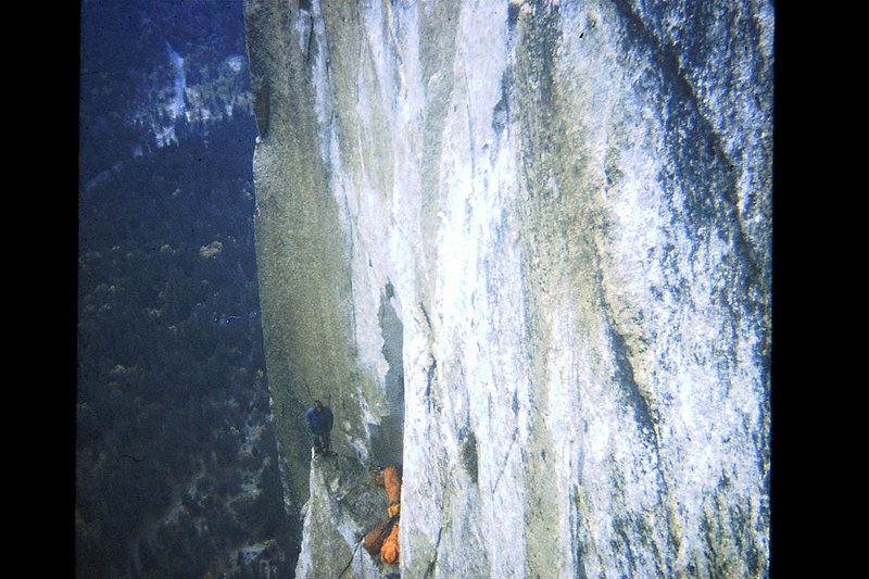 Rock Climbing Photo: FA Mescalito 1973; Steve Sutton balancing on the p...