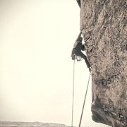 Rock Climbing Photo: Dr. Dan Climbing through the crux on P2
