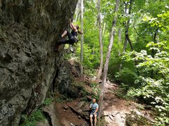Rock Climbing Photo: Working the crux on Sky Pilot, 5.8 Crag