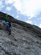 Rock Climbing Photo: RW starts off on our P2 (from the Contact anchors)...