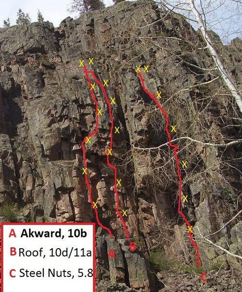 Left 3 routes in Box Canyon.