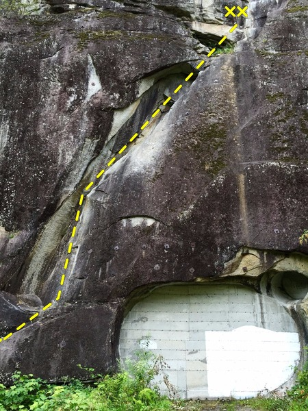 Rock Climbing Photo: Route overview. Follows the ramp leading up and ri...