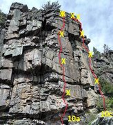 Right 2 routes in Box Canyon.  BS Too and Step Right are a little to the left of this block.