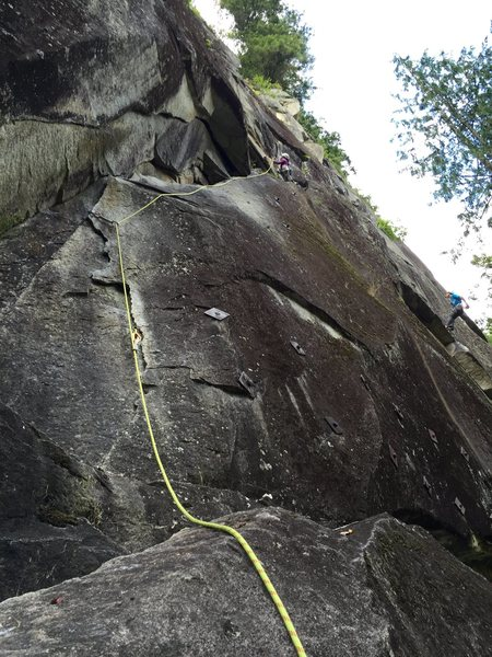 View of the route from the belay.