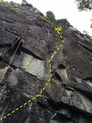Rock Climbing Photo: Route overview from the belay. Can clip the bolt o...