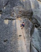 Rock Climbing Photo: Approaching the crux on Fish Crack. Photo by Frank...