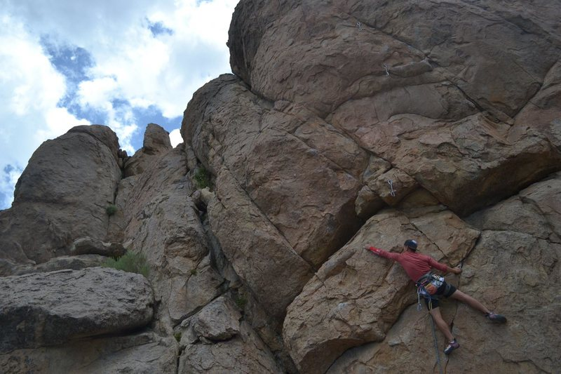 Rock Climbing Photo: Working my way up the bulge.