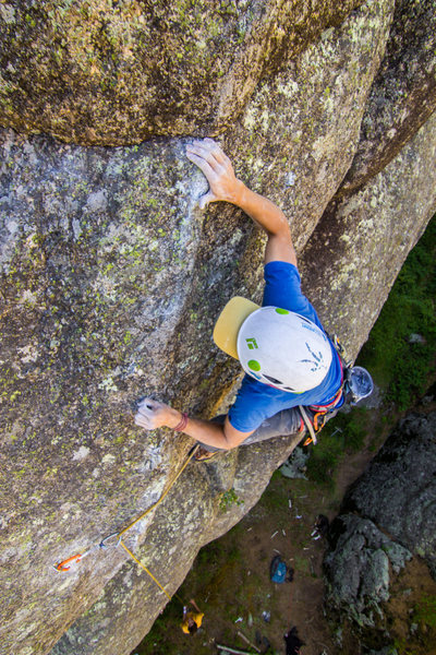 Rock Climbing Photo: Passing the crux