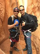My friend and I at blue John cañon. ( I'm the one in black and jeans )