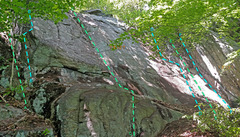 Rock Climbing Photo: Kitty Doll sector from SW overview of routes: A. K...