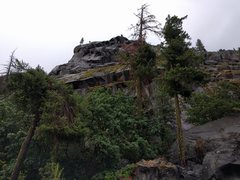 Rock Climbing Photo: View from the road. The route finishes at the topm...