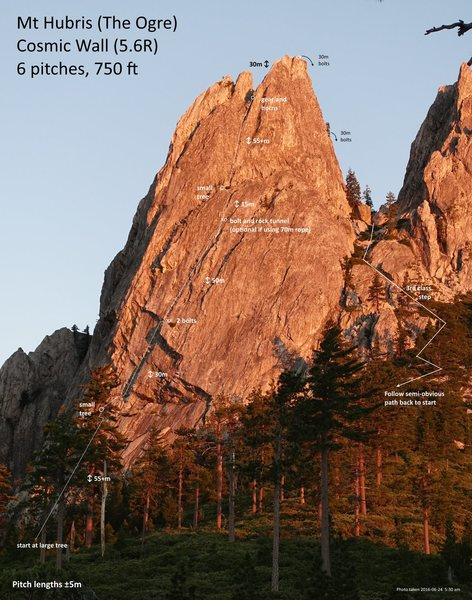 Rock Climbing Photo: My topo of Cosmic Wall.