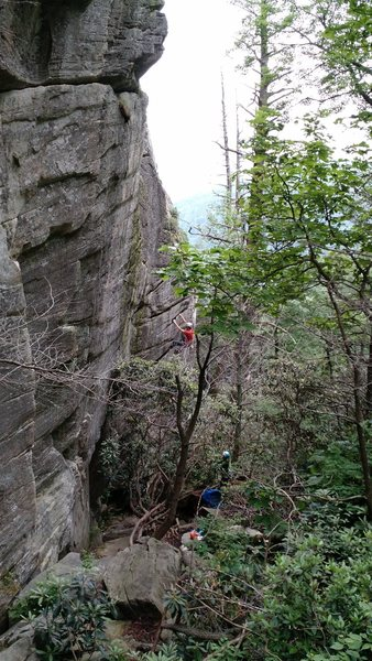 Rock Climbing Photo: Ryan B. on the huge horizontals of Luciferin.