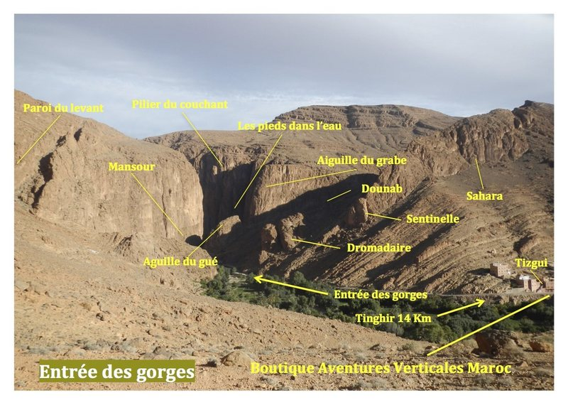 Guidebook climbing in the Todra gorges, Morocco<br> Topo escalade gorges du Todgha, Maroc<br> Entrance gorges / Entrée des gorges