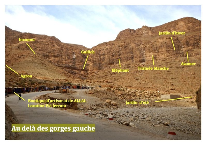 Guidebook climbing in the Todra gorges, Morocco <br> Topo escalade gorges du Todgha, Maroc <br> Beyond the gorges, left / Au delà des gorges, gauche