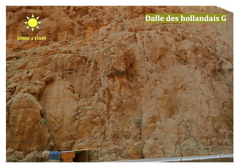 Climbing in Morocco Escalade au Maroc<br> Guidebook climbing in Todra gorges <br> Dalle des Hollandais, Left