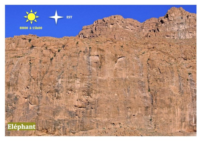 Climbing in Morocco Escalade au Maroc<br> Guidebook climbing in Todra gorges <br> Secteur Eléphant