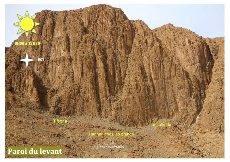 Climbing in Morocco  Escalade au Maroc<br> Guidebook climbing in the Todra gorges <br> Paroi du levant area
