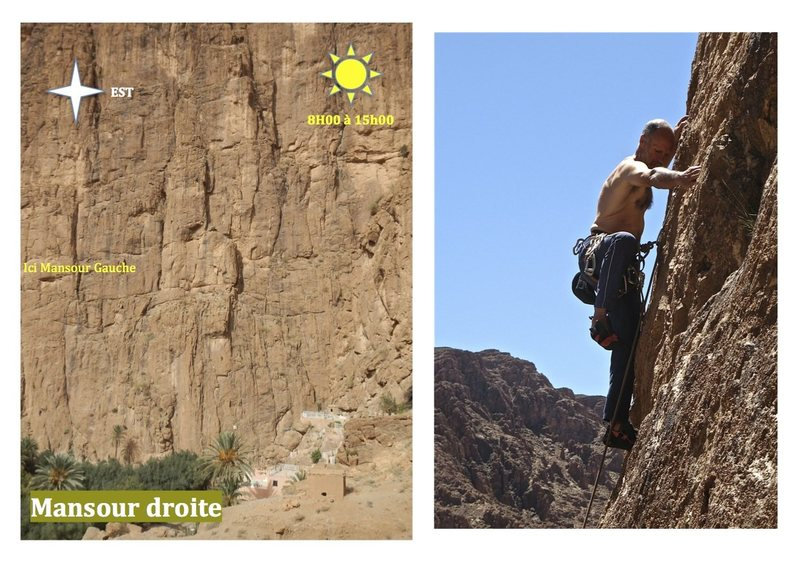 Climbing in Morocco Escalade au Maroc<br> Guidebook climbing in Todra gorges <br> Mansour droite