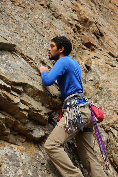 Me climbing at challenge buttress.
